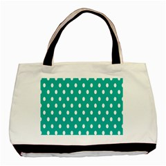 Polka Dots White Blue Basic Tote Bag (two Sides) by Mariart
