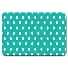Polka Dots White Blue Large Doormat  by Mariart