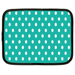 Polka Dots White Blue Netbook Case (xl)  by Mariart