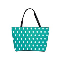 Polka Dots White Blue Shoulder Handbags by Mariart