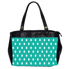 Polka Dots White Blue Office Handbags (2 Sides)  by Mariart