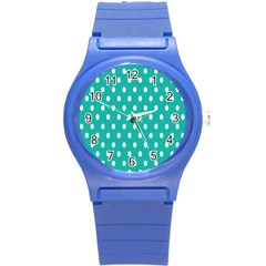 Polka Dots White Blue Round Plastic Sport Watch (s) by Mariart