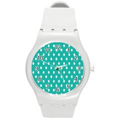 Polka Dots White Blue Round Plastic Sport Watch (m) by Mariart