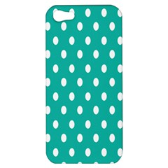 Polka Dots White Blue Apple Iphone 5 Hardshell Case by Mariart