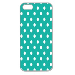 Polka Dots White Blue Apple Seamless Iphone 5 Case (clear) by Mariart