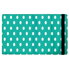Polka Dots White Blue Apple Ipad 3/4 Flip Case by Mariart