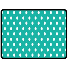 Polka Dots White Blue Double Sided Fleece Blanket (large)