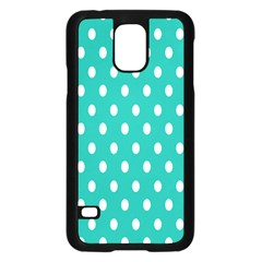 Polka Dots White Blue Samsung Galaxy S5 Case (black) by Mariart