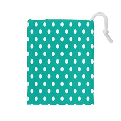 Polka Dots White Blue Drawstring Pouches (large)  by Mariart