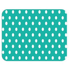 Polka Dots White Blue Double Sided Flano Blanket (medium)  by Mariart