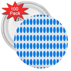 Polka Dots Blue White 3  Buttons (100 Pack)  by Mariart