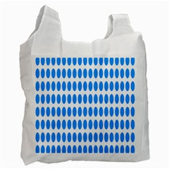 Polka Dots Blue White Recycle Bag (two Side)  by Mariart