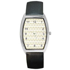 Polka Dots Gold Grey Barrel Style Metal Watch by Mariart