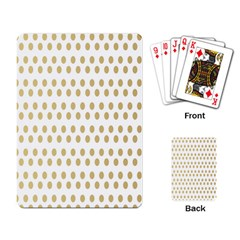 Polka Dots Gold Grey Playing Card by Mariart