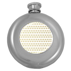 Polka Dots Gold Grey Round Hip Flask (5 Oz) by Mariart