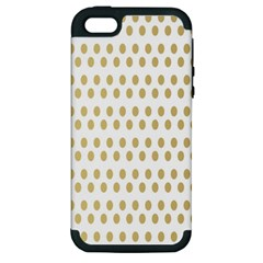 Polka Dots Gold Grey Apple Iphone 5 Hardshell Case (pc+silicone) by Mariart