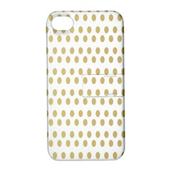 Polka Dots Gold Grey Apple Iphone 4/4s Hardshell Case With Stand by Mariart