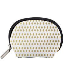 Polka Dots Gold Grey Accessory Pouches (small)  by Mariart