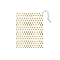 Polka Dots Gold Grey Drawstring Pouches (small)  by Mariart