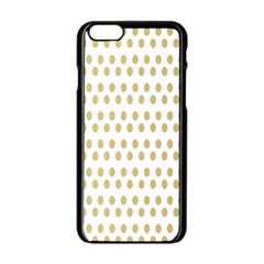 Polka Dots Gold Grey Apple Iphone 6/6s Black Enamel Case by Mariart