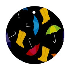 Rain Shoe Boots Blue Yellow Pink Orange Black Umbrella Ornament (round) by Mariart
