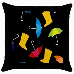 Rain Shoe Boots Blue Yellow Pink Orange Black Umbrella Throw Pillow Case (black) by Mariart