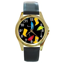 Rain Shoe Boots Blue Yellow Pink Orange Black Umbrella Round Gold Metal Watch