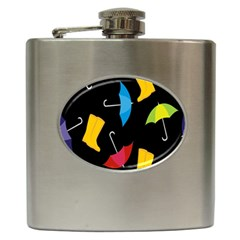 Rain Shoe Boots Blue Yellow Pink Orange Black Umbrella Hip Flask (6 Oz) by Mariart