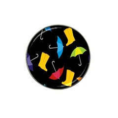Rain Shoe Boots Blue Yellow Pink Orange Black Umbrella Hat Clip Ball Marker (10 Pack) by Mariart