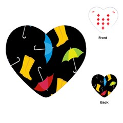 Rain Shoe Boots Blue Yellow Pink Orange Black Umbrella Playing Cards (heart)  by Mariart