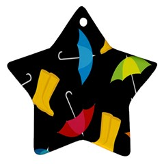 Rain Shoe Boots Blue Yellow Pink Orange Black Umbrella Star Ornament (two Sides)