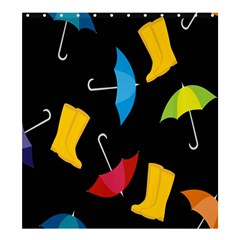 Rain Shoe Boots Blue Yellow Pink Orange Black Umbrella Shower Curtain 66  X 72  (large)  by Mariart