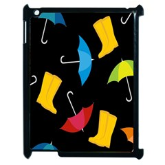 Rain Shoe Boots Blue Yellow Pink Orange Black Umbrella Apple Ipad 2 Case (black)