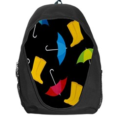 Rain Shoe Boots Blue Yellow Pink Orange Black Umbrella Backpack Bag by Mariart