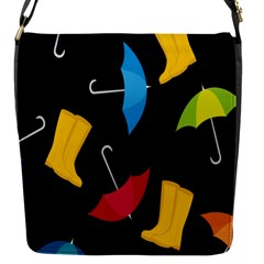 Rain Shoe Boots Blue Yellow Pink Orange Black Umbrella Flap Messenger Bag (s) by Mariart