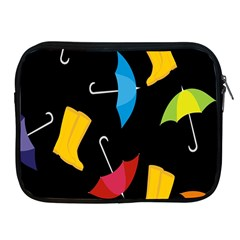 Rain Shoe Boots Blue Yellow Pink Orange Black Umbrella Apple Ipad 2/3/4 Zipper Cases by Mariart