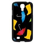 Rain Shoe Boots Blue Yellow Pink Orange Black Umbrella Samsung Galaxy S4 I9500/ I9505 Case (Black) Front