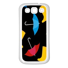 Rain Shoe Boots Blue Yellow Pink Orange Black Umbrella Samsung Galaxy S3 Back Case (white) by Mariart