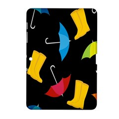 Rain Shoe Boots Blue Yellow Pink Orange Black Umbrella Samsung Galaxy Tab 2 (10 1 ) P5100 Hardshell Case