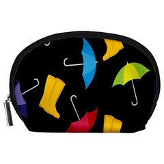 Rain Shoe Boots Blue Yellow Pink Orange Black Umbrella Accessory Pouches (large)