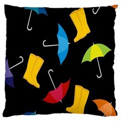 Rain Shoe Boots Blue Yellow Pink Orange Black Umbrella Standard Flano Cushion Case (one Side) by Mariart