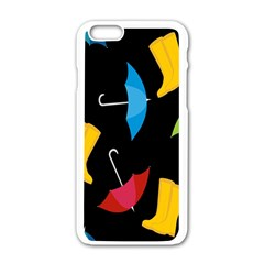 Rain Shoe Boots Blue Yellow Pink Orange Black Umbrella Apple Iphone 6/6s White Enamel Case by Mariart