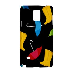 Rain Shoe Boots Blue Yellow Pink Orange Black Umbrella Samsung Galaxy Note 4 Hardshell Case by Mariart