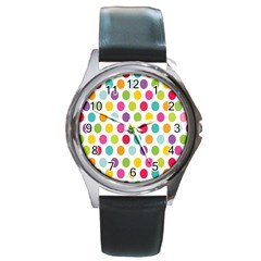 Polka Dot Yellow Green Blue Pink Purple Red Rainbow Color Round Metal Watch by Mariart