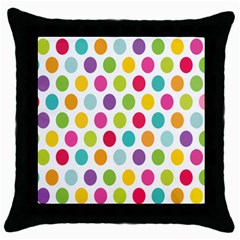 Polka Dot Yellow Green Blue Pink Purple Red Rainbow Color Throw Pillow Case (black) by Mariart