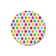 Polka Dot Yellow Green Blue Pink Purple Red Rainbow Color Rubber Round Coaster (4 Pack)  by Mariart