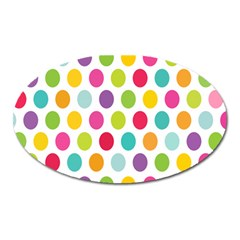 Polka Dot Yellow Green Blue Pink Purple Red Rainbow Color Oval Magnet by Mariart