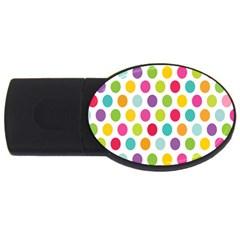 Polka Dot Yellow Green Blue Pink Purple Red Rainbow Color Usb Flash Drive Oval (4 Gb) by Mariart