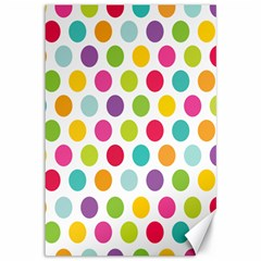 Polka Dot Yellow Green Blue Pink Purple Red Rainbow Color Canvas 12  X 18   by Mariart