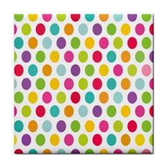 Polka Dot Yellow Green Blue Pink Purple Red Rainbow Color Face Towel by Mariart